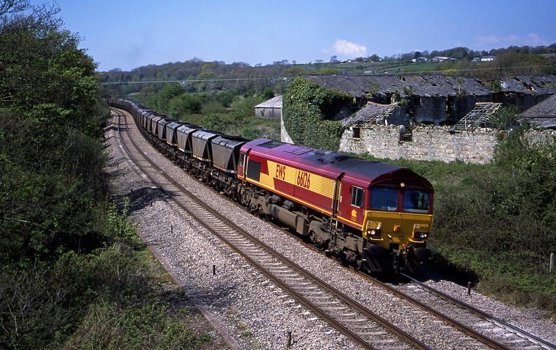 66126, 12.27 Port Talbot Grange Sidings-Llanwern, Llangewydd Court Farm, near Bridgend, 8-5-01.