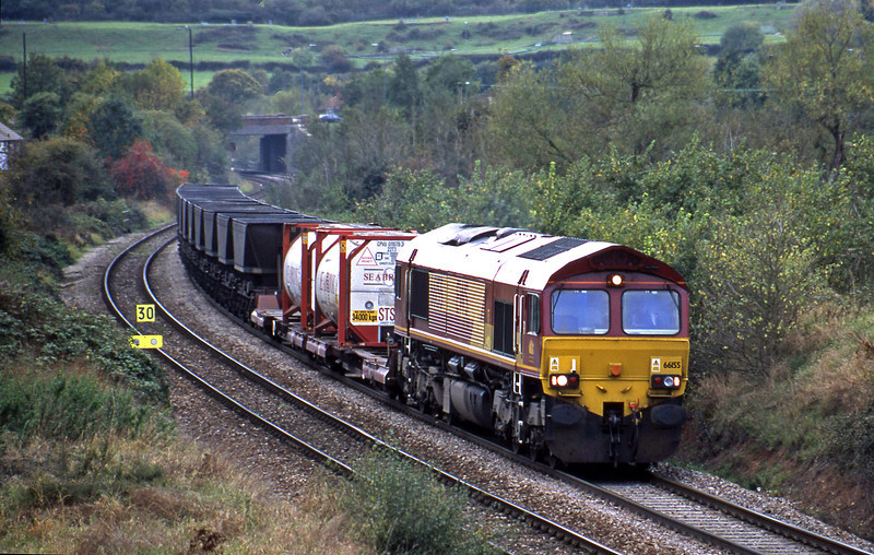 66155, up freight, Brentry, Bristol, 3-11-01.