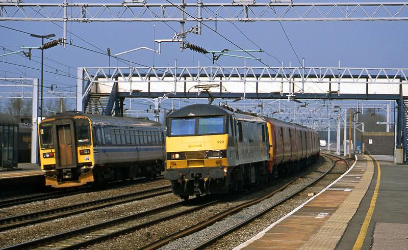 90222, 11.18 Crewe-Willesden, Rugeley Trent Valley, 10-4-02. 153365, down to Stafford.