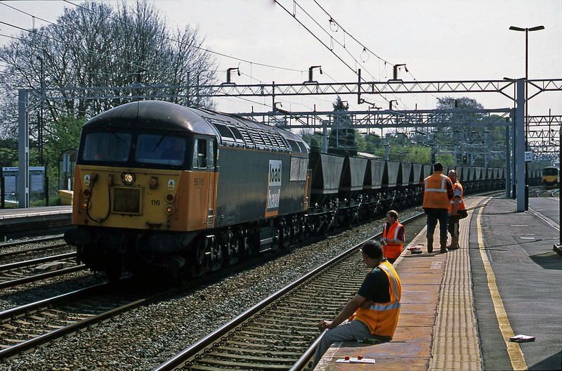 56116, down mgr to Rugeley Power Station, Rugeley Trent Valley, 23-4-02.
