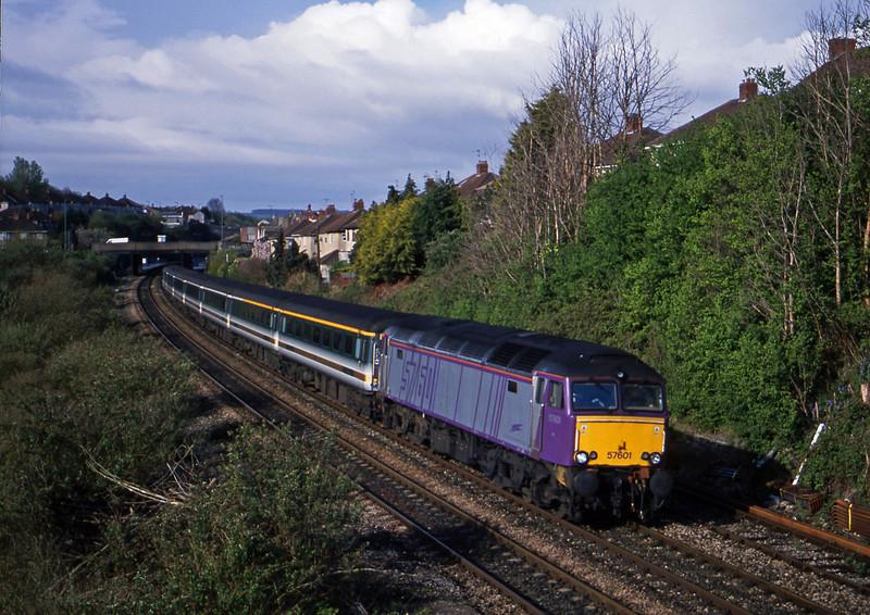 57601, 06.30 Plymouth-London Paddington, via Bristol Temple Meads, Malago Vale, Bristol, 18-4-02.