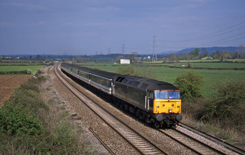 47813, 14.33 London Paddington-Plymouth, Berkley Marsh, near Frome, 16-4-02.