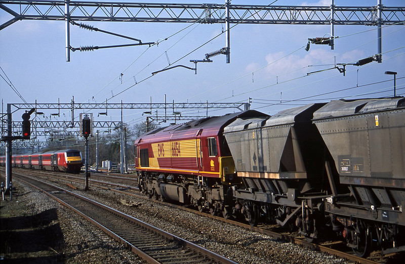 66154, down mgr to Rugeley Power Station, Rugeley Trent Valley, 3-4-02.