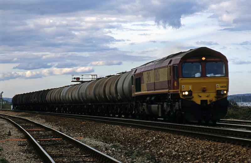 66126, 13.34 Fawley-Plymouth Tavistock Junction Yard, Dawlish Warren, 19-4-02.