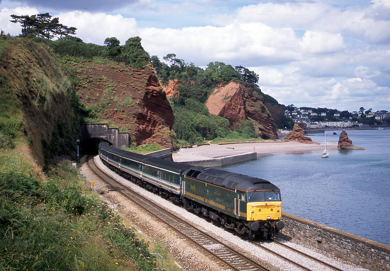 47815, 11.50 London Paddington-Penzance, Horse Cove, Dawlish, 21-7-02.