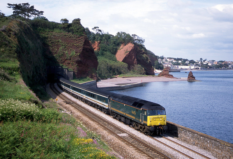 47816, 12.33 London Paddington-Plymouth, Horse  Cove, Dawlish, 5-6-02.
