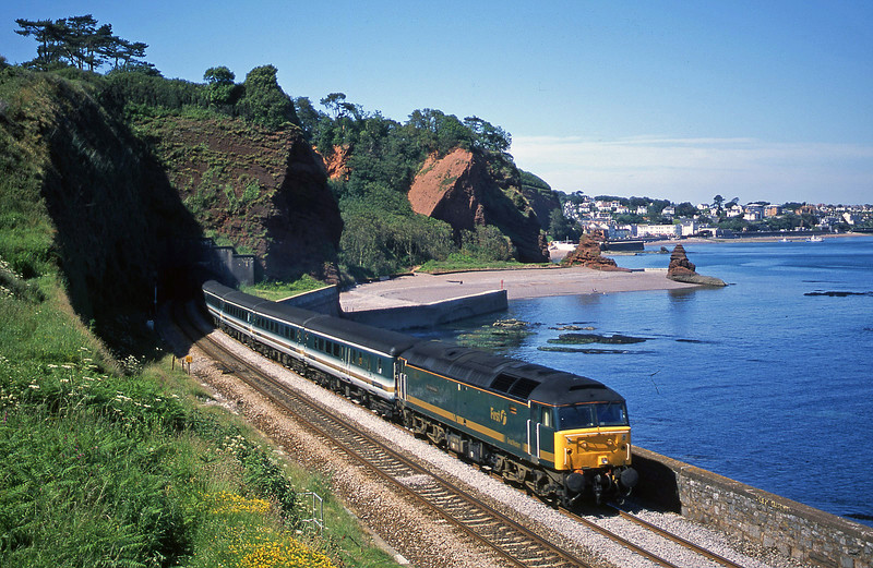 47813, 12.33 London Paddington-Plymouth. Horse Cove, Dawlish, 26-6-02.