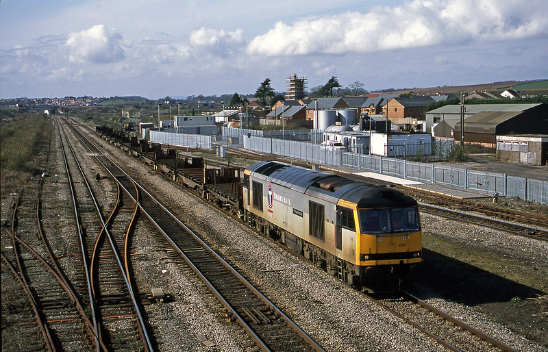 60055, down slabs empties, Severn Tunnel Junction, 12-3-02.