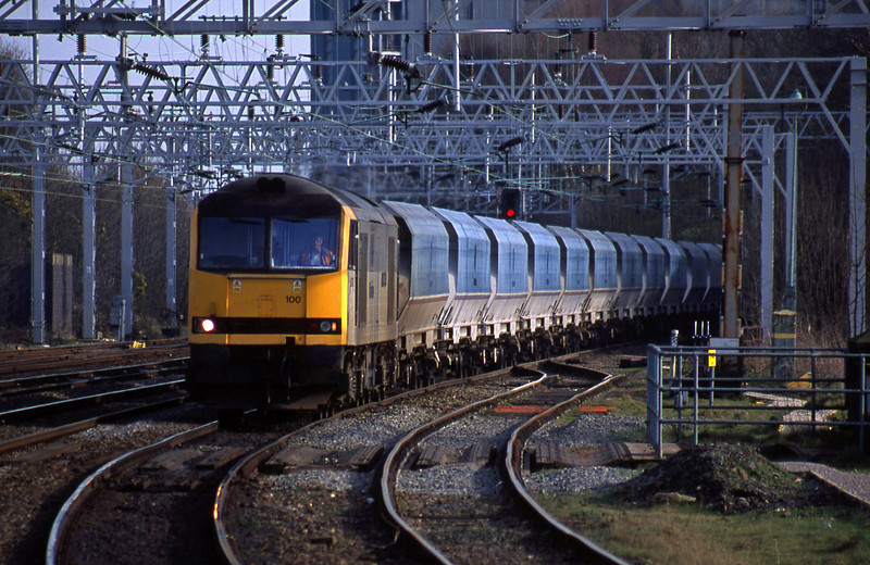 60100, down mgr empties, from Walsall line, Rugeley Trent Valley, 26-3-02.