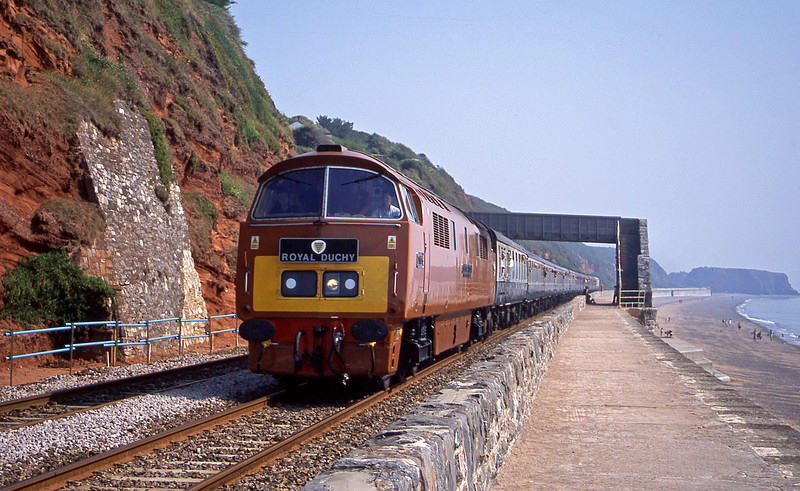 D1015, 07.53 London Paddington-Penzance, Royal Duchy, Dawlish, 9-8-03.