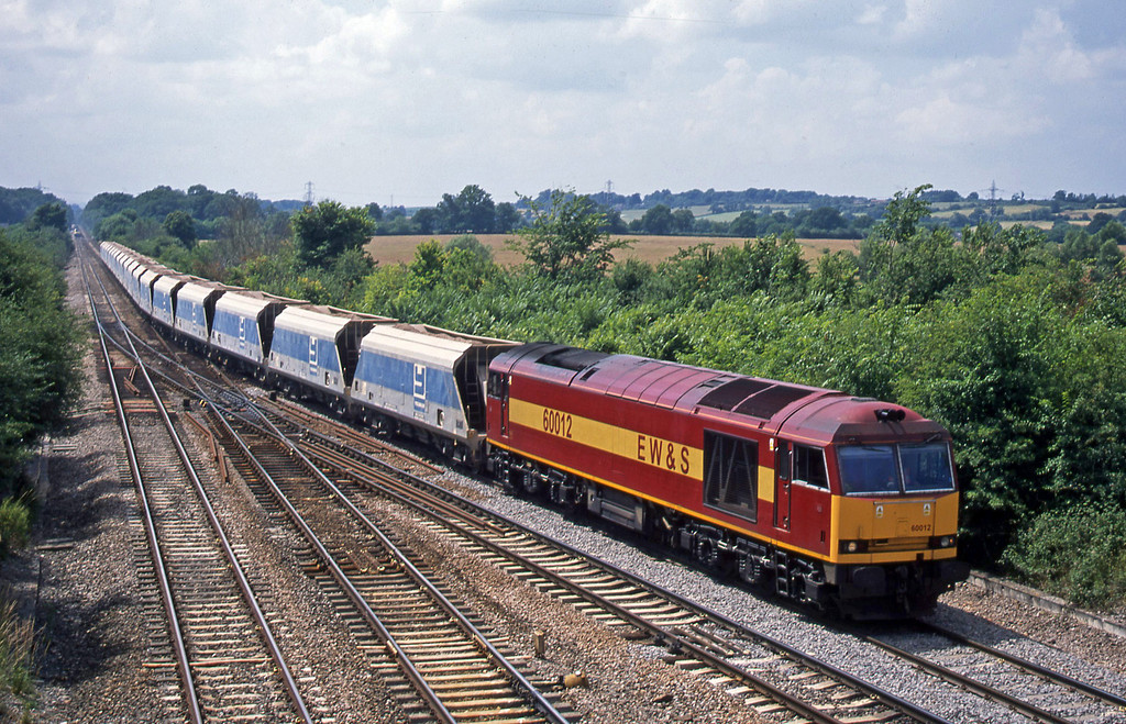 60012, 13.45 Merehead Quarry-Eastleigh, Fairwood Junction, Westbury, 9-7-03.