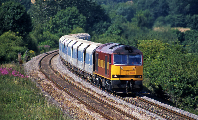 60012, 13.45 Merehead Quarry-Eastleigh, Upton Scudamore, near Warminster, 9-7-03.