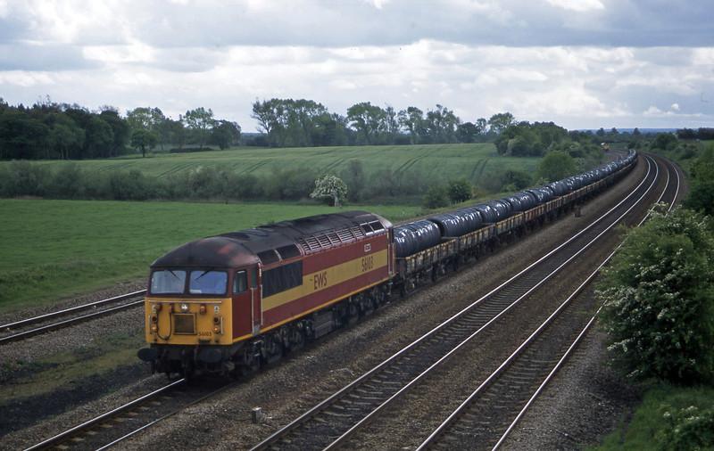 56103, 12.40 Rotherham Aldwarke-Middlesbrough Tees Dock, Bolton Percy, near York, 20-5-03.
