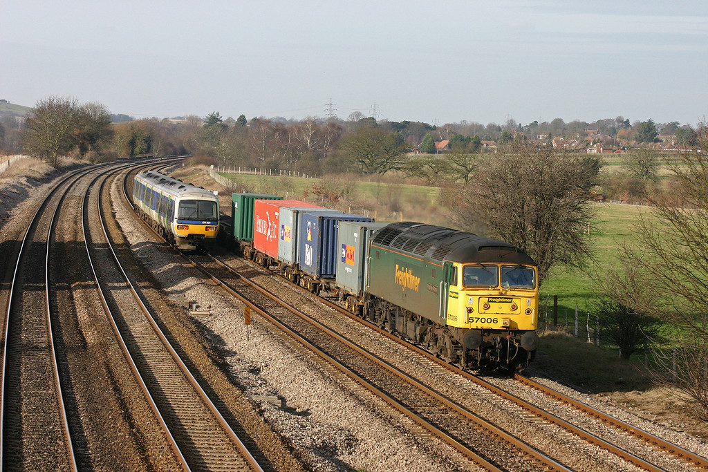 57006, 10.08 Cardiff Wentloog-Southampton Millbrook, Lower Basildon, near Pangbourne; 10-2-04, 166201, westbound.