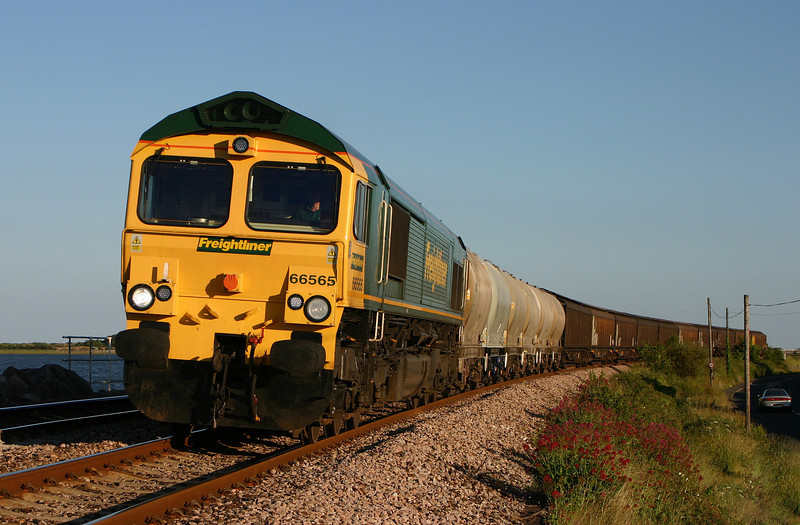 66565, 15.35 Moorswater-Earles Sidings, Cockwood, near Starcross, 15-6-04.