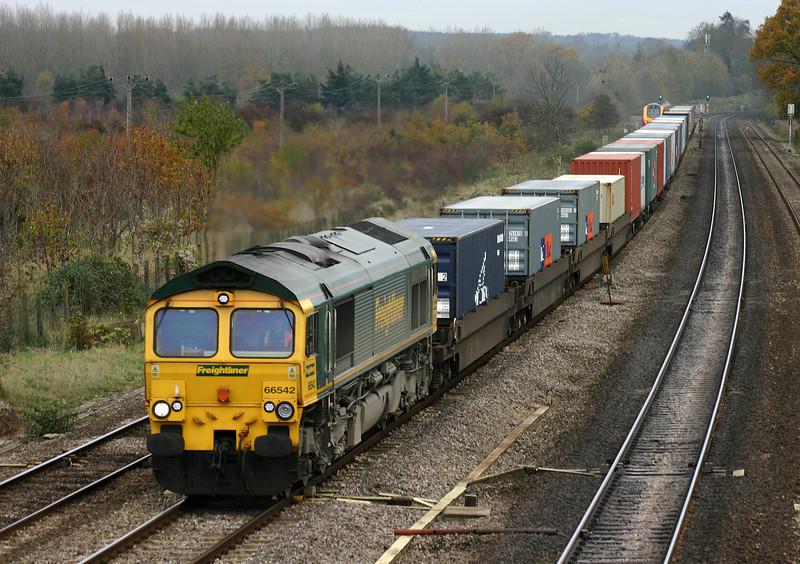 66542, 08.45 Southampton Millbrook-Leeds, Lower Basildon, near Pangbourne, 15-11-04.