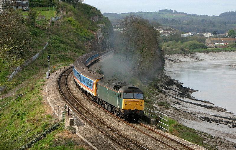 47830, diverted Shoeburyness-Caerwent, consisting of  withdrawn four-car units 3569 and 3459, Bulwark, Chepstow, 12-4-05.