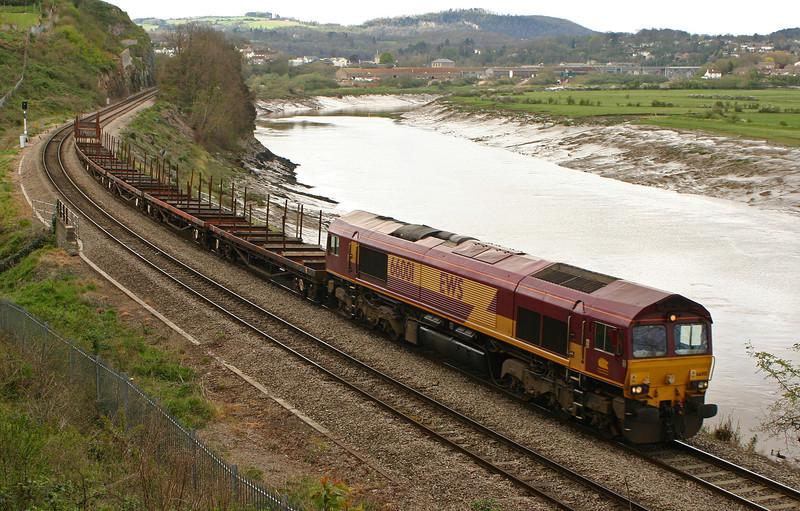 66001, Bristol East Depot-Newport Alexandra Dock Junction Yard, Bulwark,Chepstow, 12-4-05.
