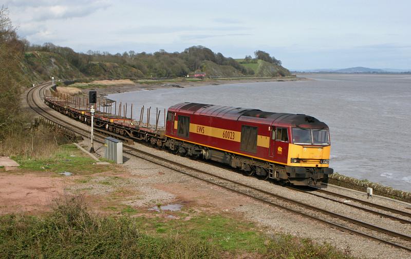 60023, westbound steel empties, diverted, Purton, near Lydney, 5-4-05.