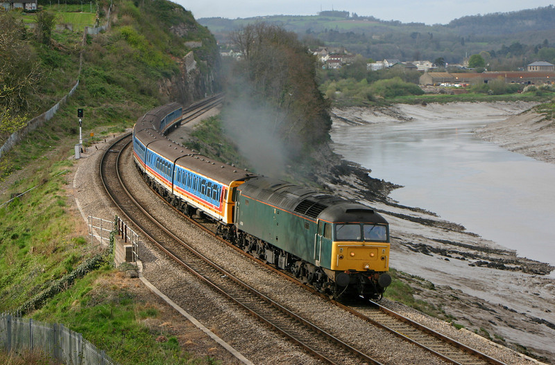 47830, diverted Shoeburyness-Caerwent, consisting of  withdrawn four-car units, 3569 and 3459, Bulwark, Chepstow, 12-4-05.