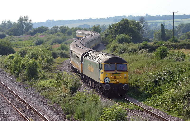 47150, 09.15 Ramsgate-Caerwent, Llandevenny, near Llanwern, 13-7-05, and withdrawn electric units nos 3585, 3475, and 3583.