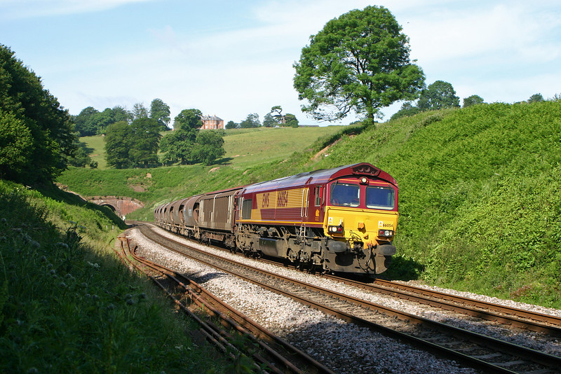 66054, 07.39 Plymouth Tavistock Junction-Dollands Moor, Marlands, near Wellington, 20-6-05.
