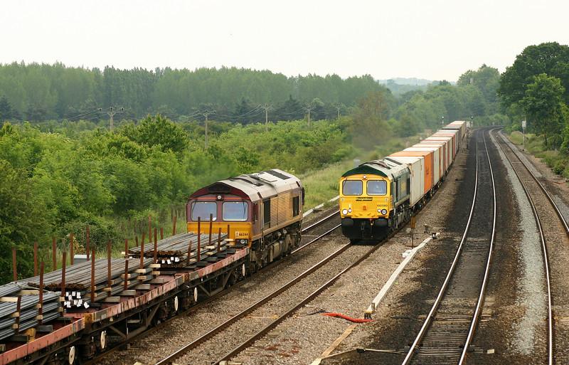 66244, 10.10 Cardiff Tidal-Colnbrook; 66580, 13.00 Southampton-Trafford Park, Lower Basildon, near Pangbourne, 9-6-05.