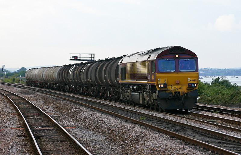 66085, 13.34 Fawley-Plymouth Tavistock Junction Yard,  Dawlish Warren, 10-5-05.