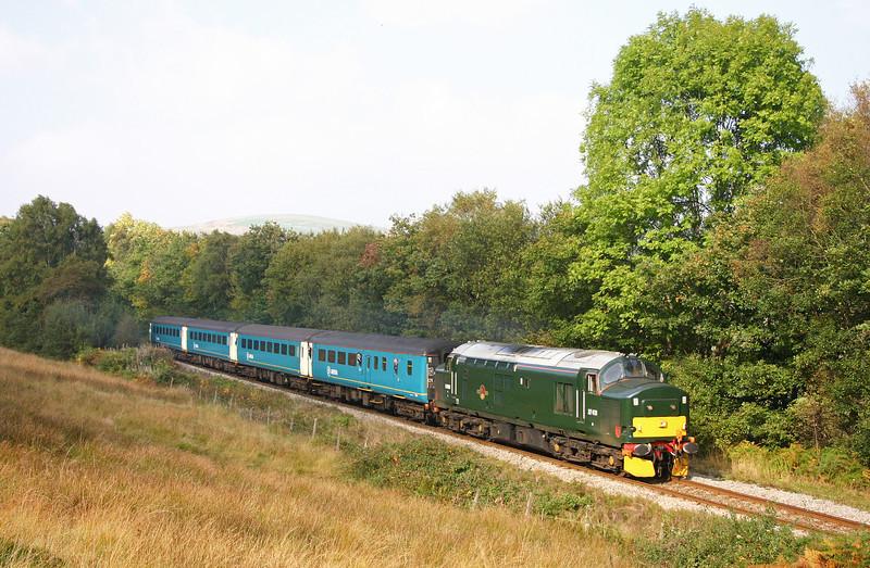 37411, 14.15 Rhymney-Cardiff Central, near Pontlottyn, 15-10-05.