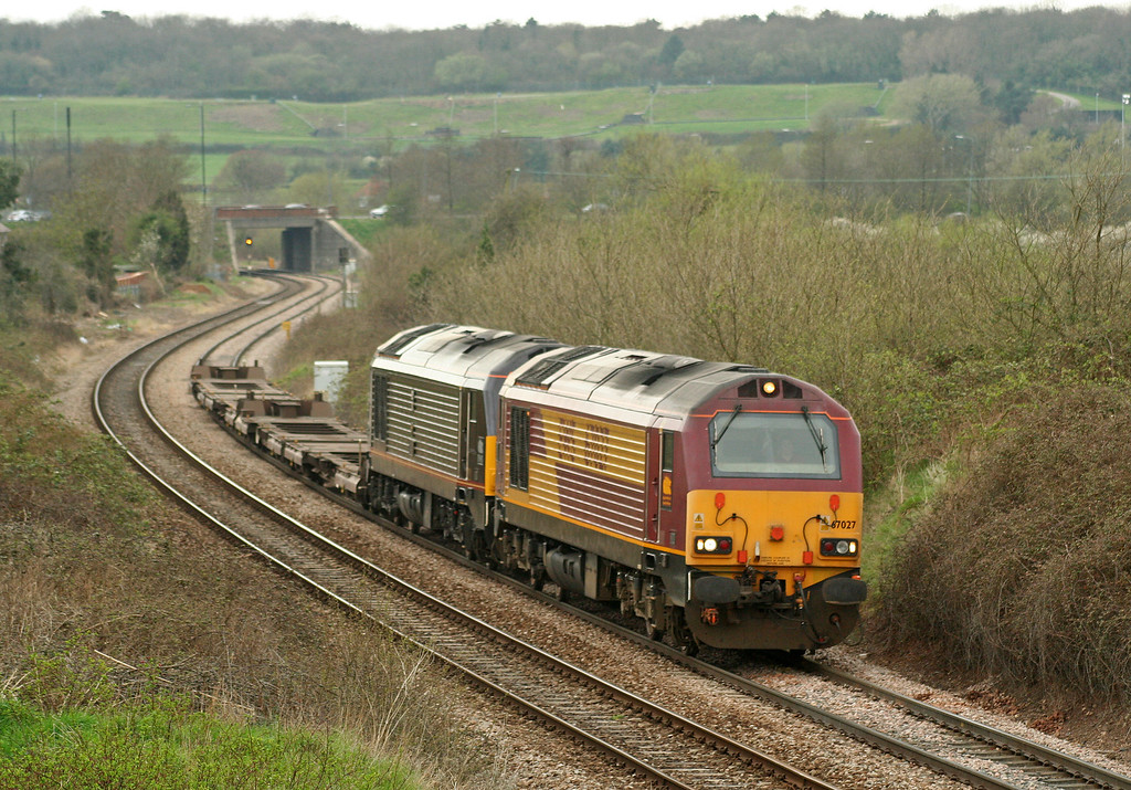 67027/67006, 16.23 Avonmouth-Wembley Yard, Brentry, Bristol, 20-4-06.