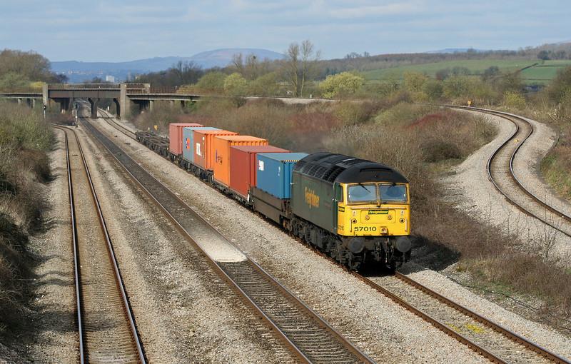 57010, 10.02 Cardiff Wentloog-Southampton Millbrook, Llandevenny, near Llanwern, 4-4-06.