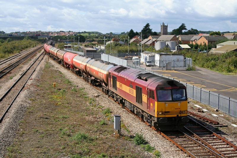 60038, Robeston-Theale, running 12 hours late, Severn Tunnel Junction, 29-8-06.
