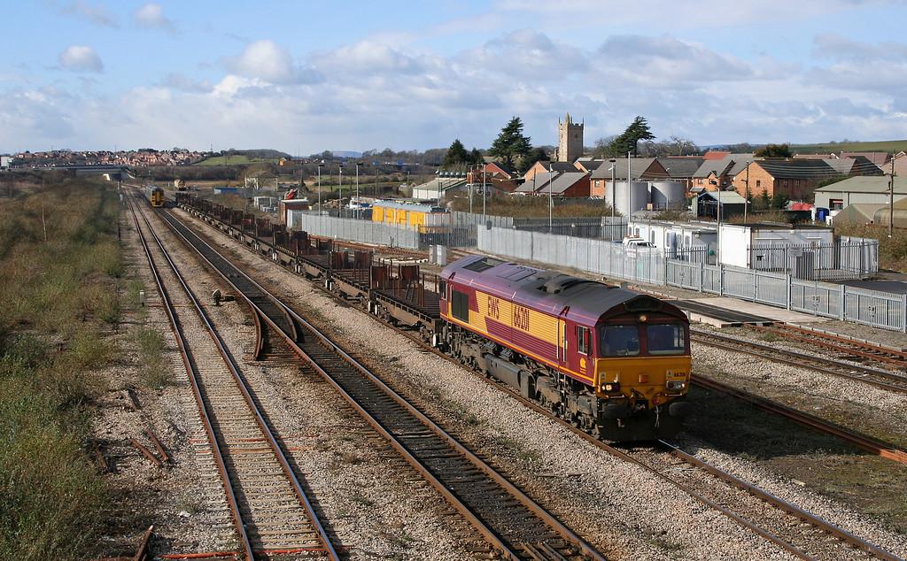 66201, 09.29 Margam-Lackenby, Severn Tunnel Junction, 28-2-06. 158964, westbound.