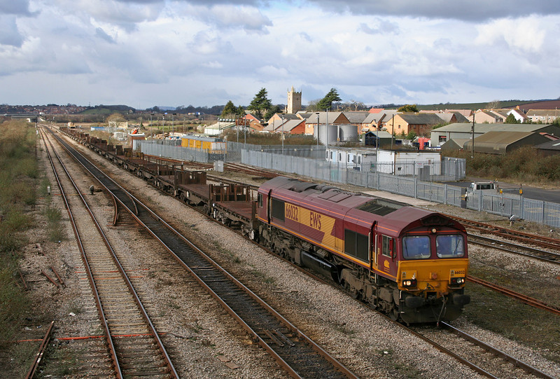 66032, 11.14 Llanwern-Lackenby, Severn Tunnel Junction, 28-2-06.