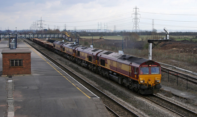 66227/66233/66021/66089, 09.15 Westbury Yard-Newport Alexandra Dock Junction, Severn Tunnel Junction, 20-2-06.