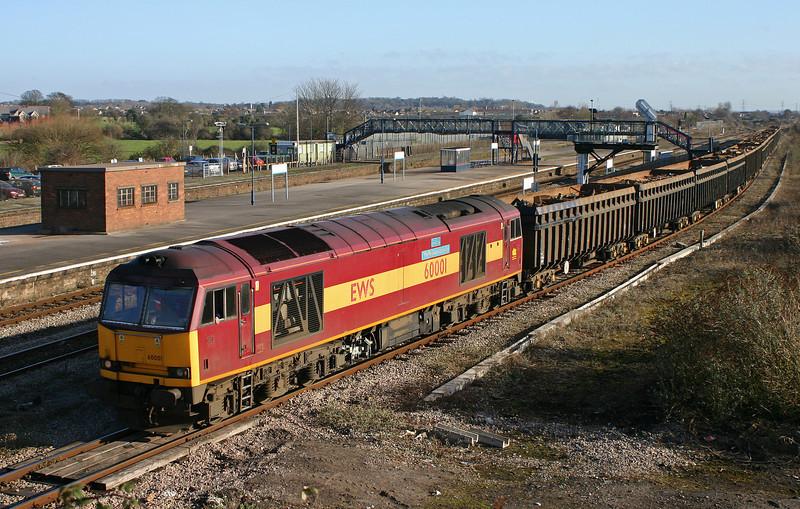 60001, unidentified westbound scrap, Severn Tunnel Junction, 26-1-06.
