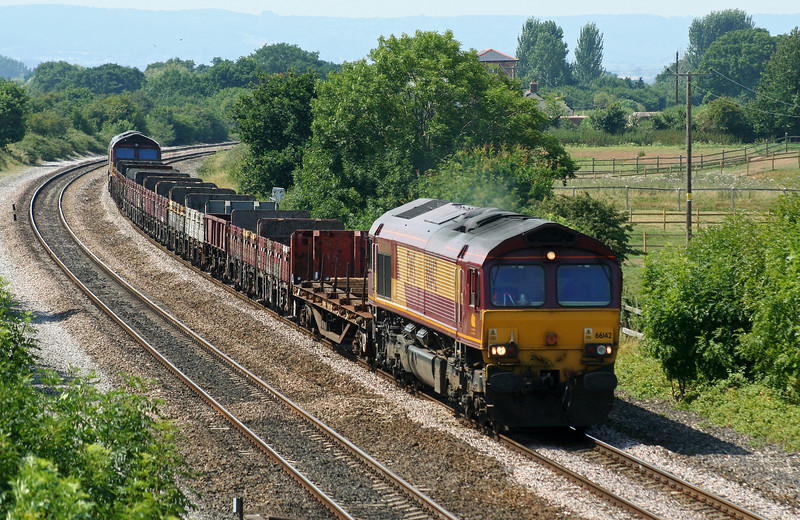 66142/66096, up departmental, Cogload Junction, 25-7-06.