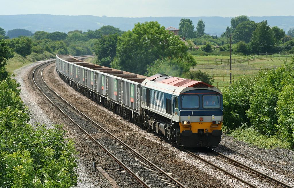 59102, 11.14 Exeter Riverside Yard-Westbury Yard, Cogload Junction, 13-7-06.