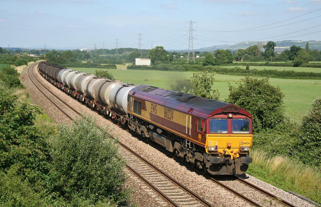 66224, 13.18 Fawley-Plymouth Tavistock Junction Yard, Berkley Marsh, near Frome, 11-7-06.