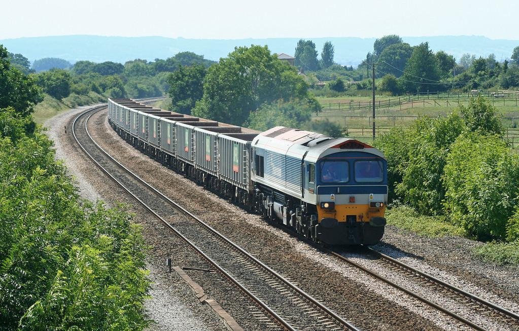 59104, 11.14 Exeter Riverside Yard-Westbury Yard, Cogload Junction, 18-7-06.
