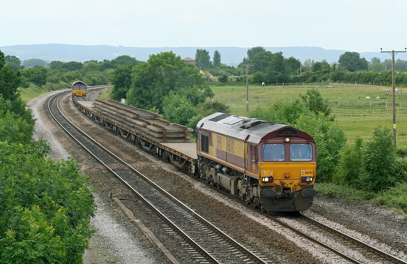 66242/66141, up departmental, Cogload Junction, 21-6-06.