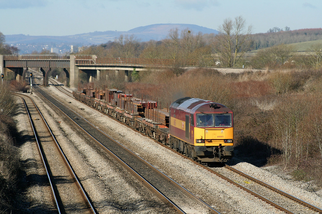 60085, 09.11 Newport Alexandra Dock Junction-Bristol East Depot, Llandevenny, near Llanwern, 6-3-06.