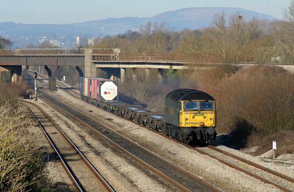 57002, 10.02 Cardiff Wentloog-Southampton Millbrook, Llandevenny, near Llanwern, 6-3-06.