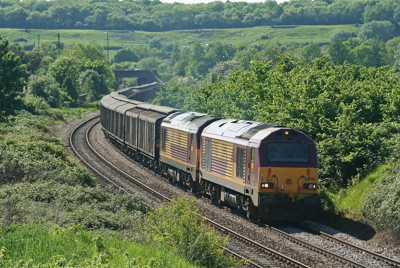67013/67015, 16.23 Avonmouth-Wembley Yard, Brentry, Bristol, 25-5-06.