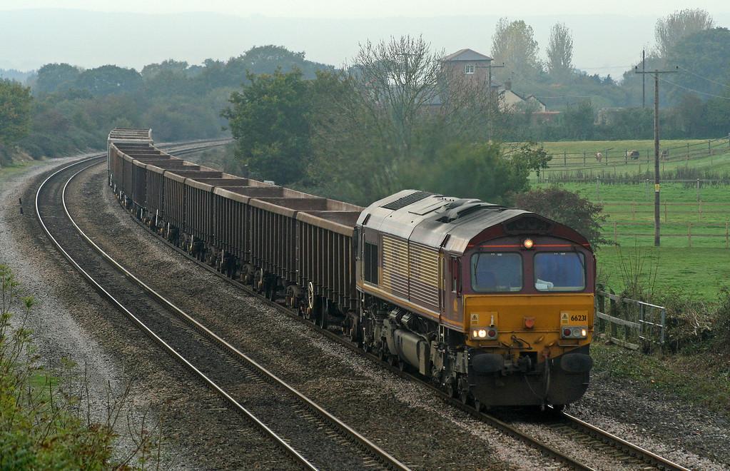 66231, 11.15 Exeter Riverside Yard-Westbury Yard, Cogload Junction, 9-11-06.
