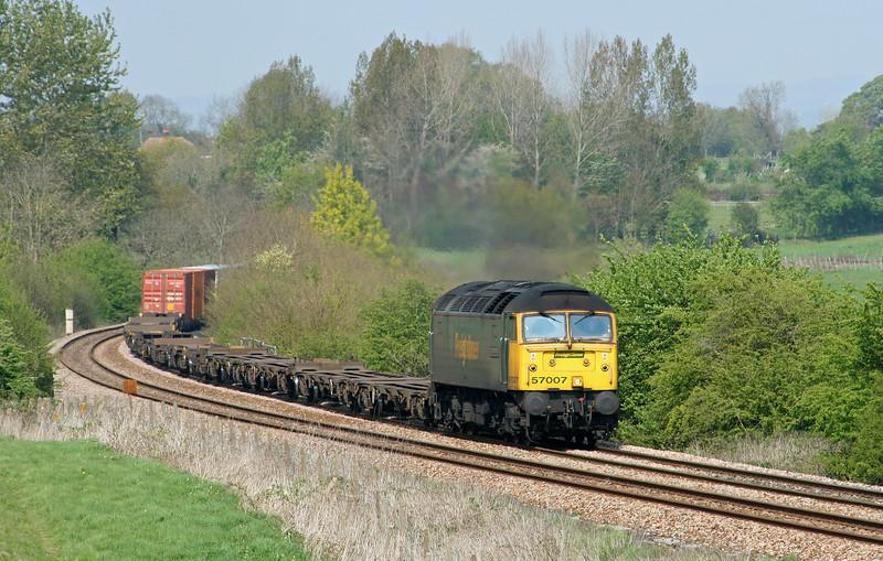 57007, 05.27 Leeds-Southampton,  Upton Scudamore, near Westbury, 21-4-07.