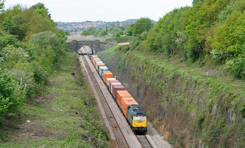 57012, 10.03 Cardiff Wentloog-Southampton Millbrook, approaching Severn Tunnel, from Caldicot, 26-4-07.