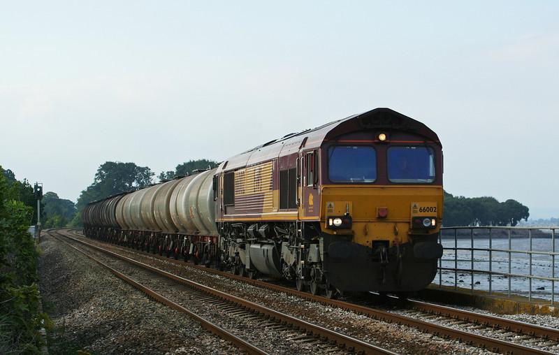 66002, 13.18 Fawley-Plymouth Tavistock Junction Yard, Powderham, near Starcross, 21-8-07.