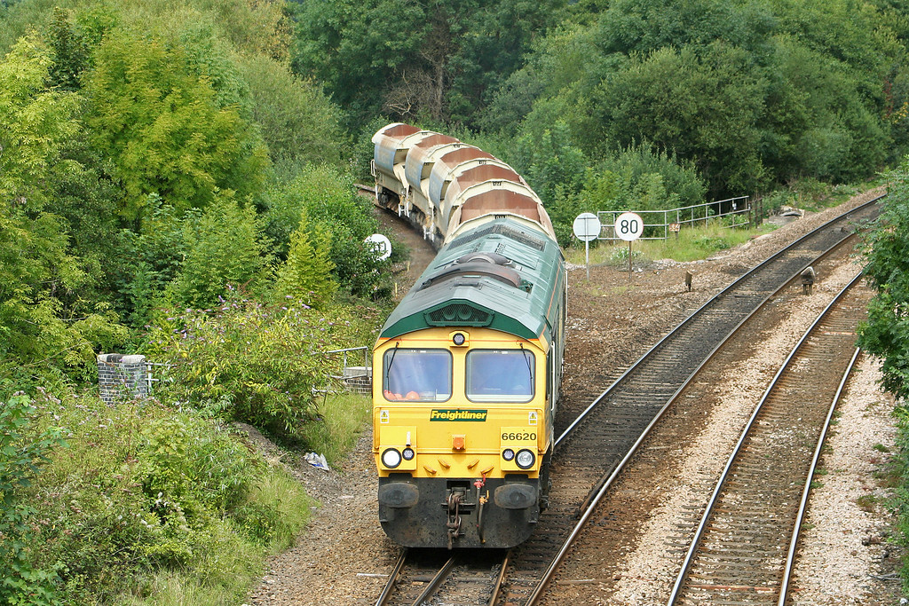 66620, 13.37 Meldon Quarry-Taunton Fairwater Yard, Cowley Bridge Junction, Exeter, 29-8-07.