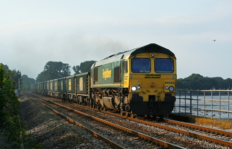 66560, 13.49 Neath-Plymouth Tavistock Junction Yard, Powderham, near Starcross, 21-8-07.